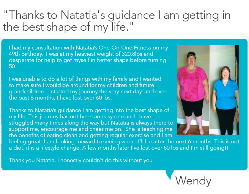 Testimonial for Natatia's One on One Fitness from Wendy